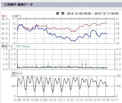 城ヶ島・三崎港周辺の海水温の変化
