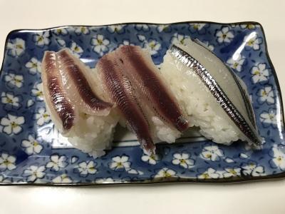 ウルメイワシ・カタクチイワシ・トウゴロウイワシの握り寿司