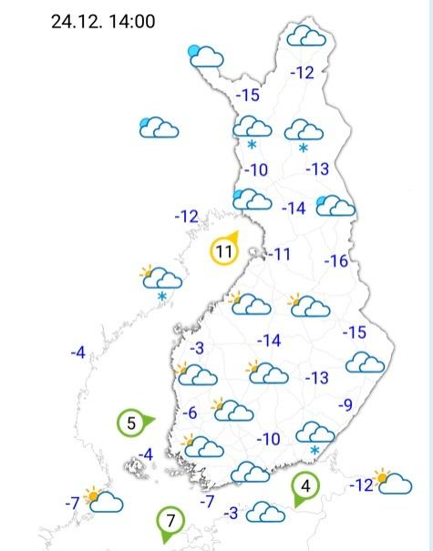 20181223フィンランド24日の天気