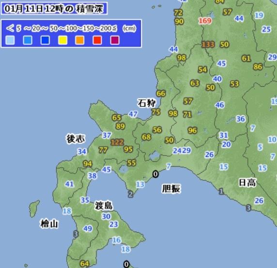 20190111積雪(道央・道南)