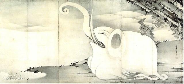 伊藤若冲 象と鯨屏風図(右隻)