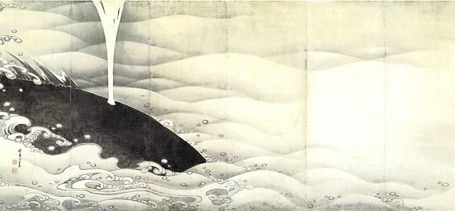 伊藤若冲 象と鯨屏風図(左隻)