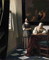 手紙を書く婦人と召使 ヨハネス・フェルメール