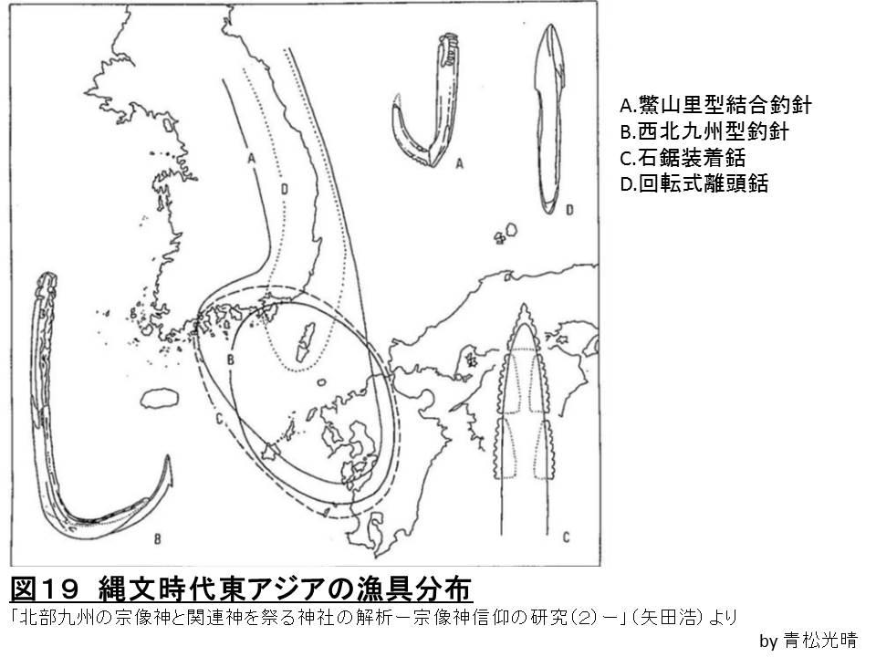 縄文東アジア魚具分布