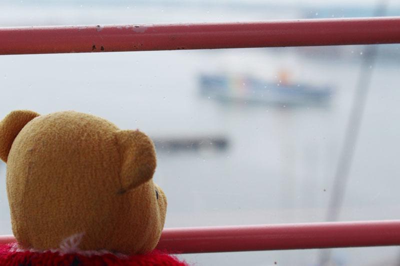 ゴンドラから駿河湾フェリーを見る 190223