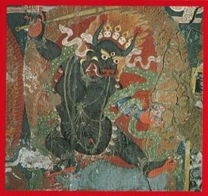 チベットラダックのお寺の牛神