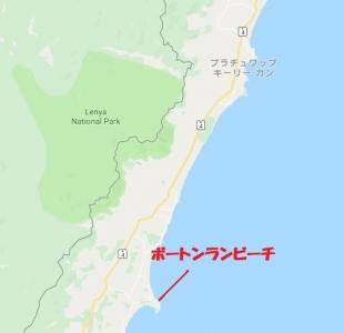 プラッチュアップキリカンからボートンランビーチ地図