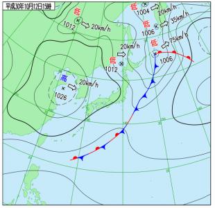 10月12日(金)15時の実況天気図