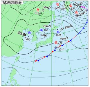 10月13日(土)15時の実況天気図