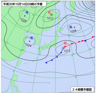 10月14日(日)9時の予想天気図