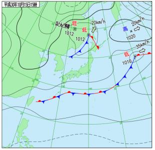 10月15日(月)15時の実況天気図