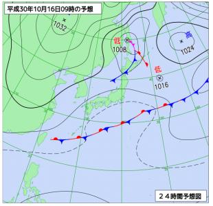 10月16日(火)9時の予想天気図