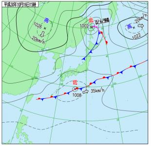 10月16日(火)15時の実況天気図