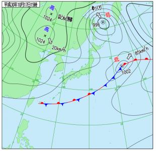 10月17日(水)15時の実況天気図