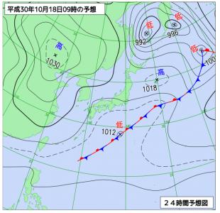 10月18日(木)9時の予想天気図