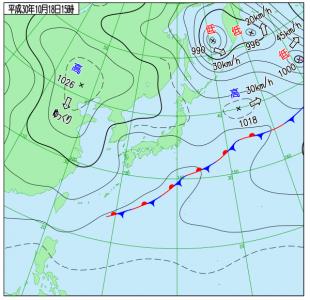 10月18日(木)15時の実況天気図