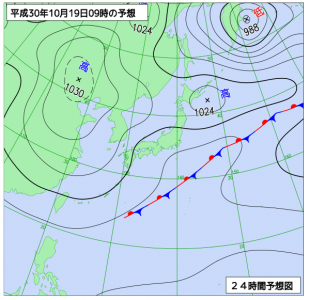 10月19日(金)9時の予想天気図