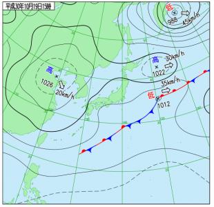 10月19日(金)15時の実況天気図