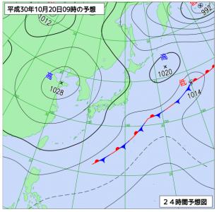10月20日(土)9時の予想天気図