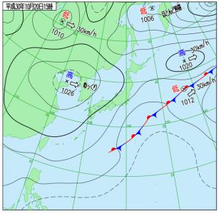10月20日(土)15時の実況天気図