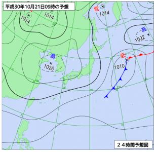 10月21日(日)9時の予想天気図