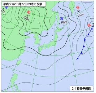 10月22日(月)9時の予想天気図