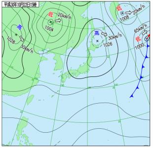 10月22日(月)15時の実況天気図
