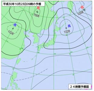 10月23日(火)9時の予想天気図