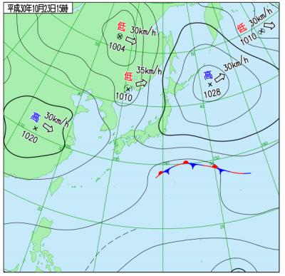 10月23日(火)15時の実況天気図
