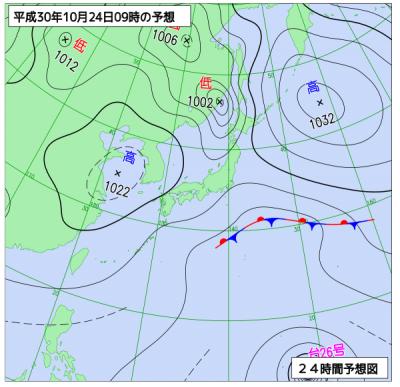 10月24日(水)9時の予想天気図
