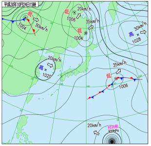10月24日(水)15時の実況天気図
