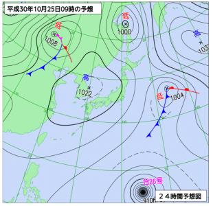 10月25日(木)9時の予想天気図