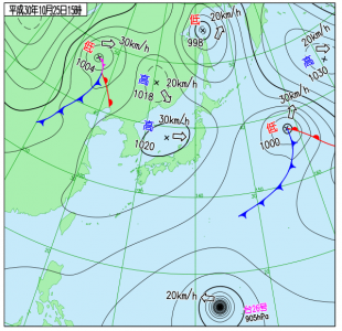 10月25日(木)15時の実況天気図