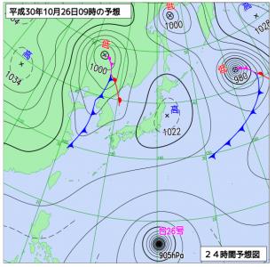 10月26日(金)9時の予想天気図