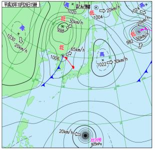 10月26日(金)15時の実況天気図