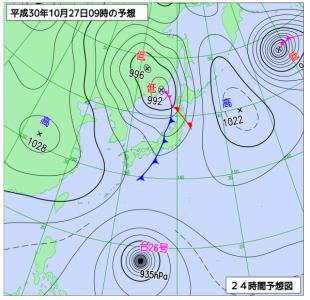 10月27日(土)9時の予想天気図