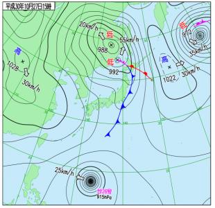 10月27日(土)15時の実況天気図