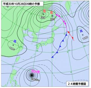 10月28日(日)9時の予想天気図