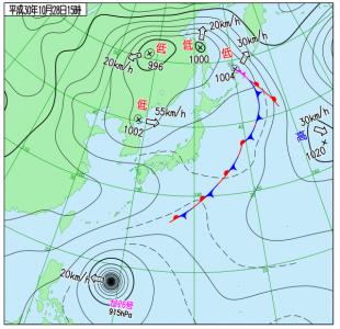 10月28日(日)15時の実況天気図
