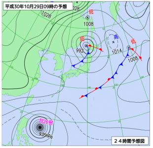 10月29日(月)9時の予想天気図