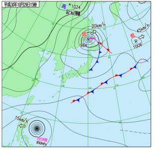 10月29日(月)15時の実況天気図