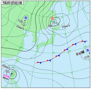 10月30日(火)15時の実況天気図