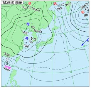 11月1日(木)15時の実況天気図