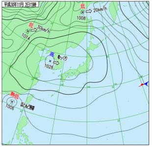 10月2日(金)15時の実況天気図