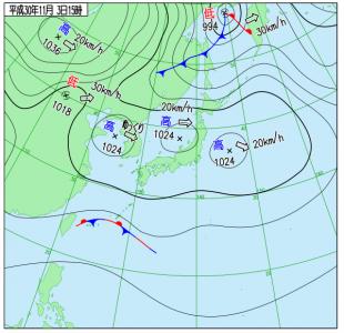 10月3日(土)15時の実況天気図