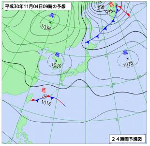 10月4日(日)9時の予想天気図