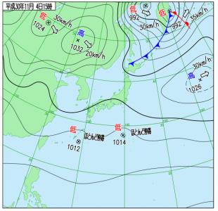 10月4日(日)15時の実況天気図