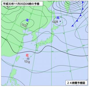 10月5日(月)9時の予想天気図