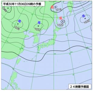 11月6日(火)9時の予想天気図