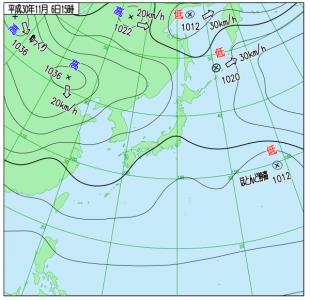 10月6日(火)15時の実況天気図